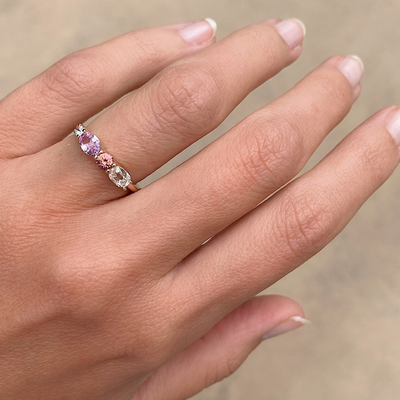 Pink Sapphire & White Diamond Linear Ring