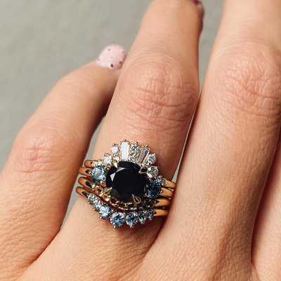 Black Diamond & Montana Sapphire Engagement Ring