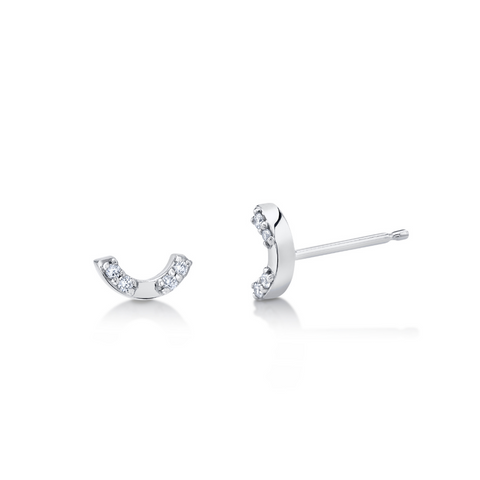 Love U White Diamond Studs