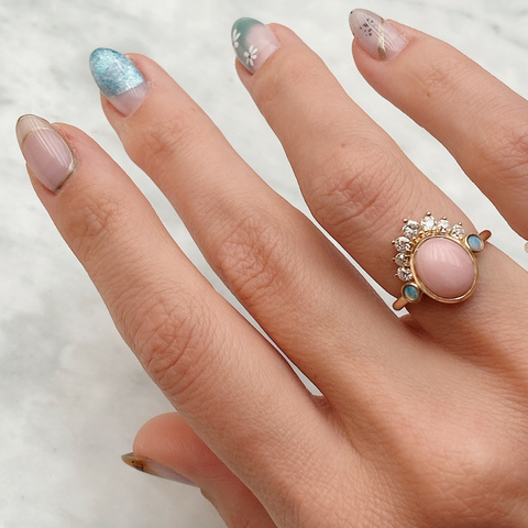 Pink Opal + Old Cut White Diamond Headdress Ring