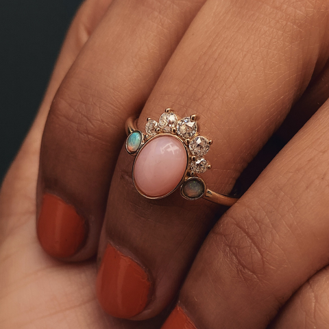 Mini Pink Opal Headdress Ring