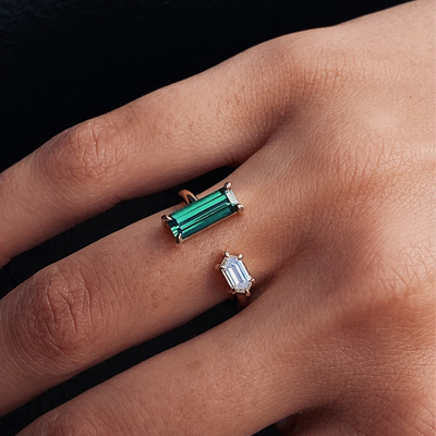 Tourmaline and White Diamond Bullet Toi et Moi Ring