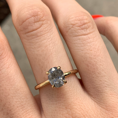 Oval Galaxy Diamond Solitaire Ring - Marrow Fine