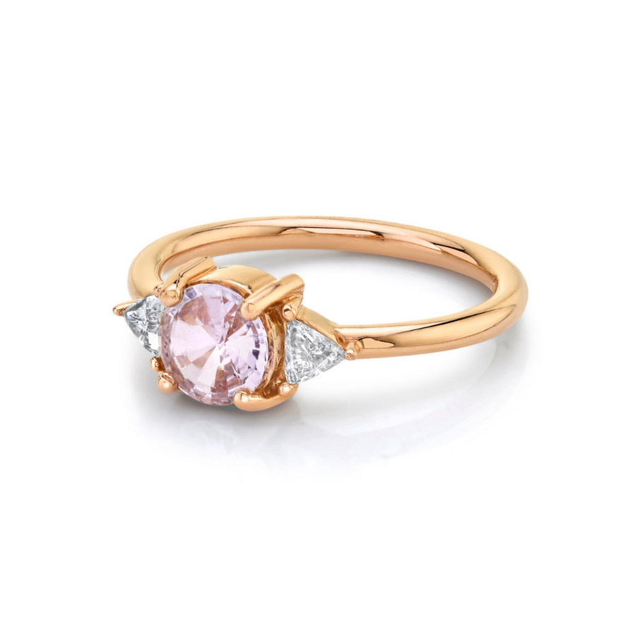 Pink Sapphire + Trillions Engagement Ring