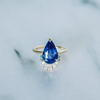 Blue Sapphire Pear & White Diamond Ballerina Ring