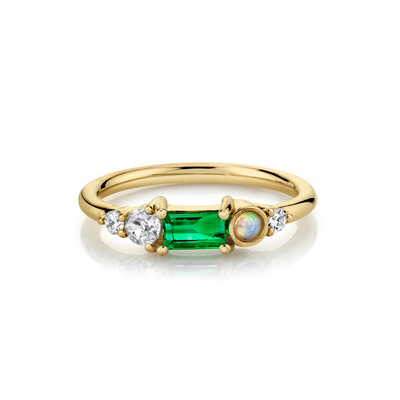 .38ct Emerald Baguette & Opal Cluster Ring - Marrow Fine