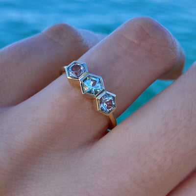 Aquamarine Hex Stacking Ring