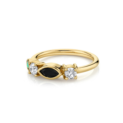 .17ct Onyx & Opal Cluster Ring - Marrow Fine