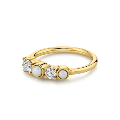 Pearl & White Diamond Cluster Ring - Marrow Fine