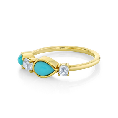 Turquoise & White Diamond Cluster Ring - Marrow Fine