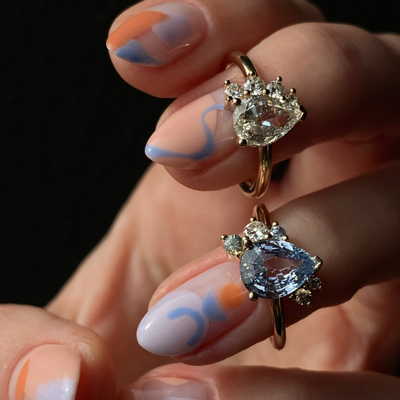 Light Blue Pear Sapphire Cluster Ring