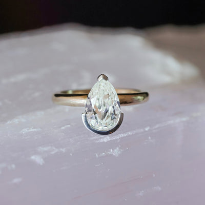 1.89ct Antique Diamond Pear Engagement Ring