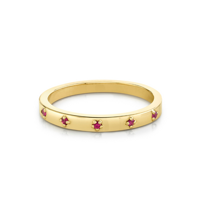 Ruby Star Set Stacking Ring - July - Marrow Fine