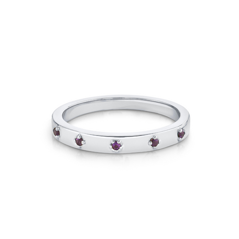 Amethyst Star Set Stacking Ring - February - Marrow Fine