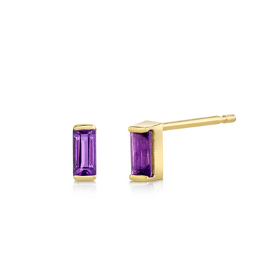 Amethyst Baguette Stud Earrings - February - Marrow Fine