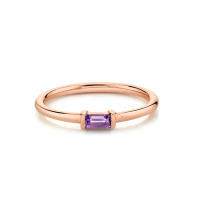 Amethyst Straight Baguette Stacking Ring - February - Marrow Fine