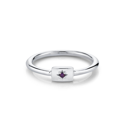 Amethyst Plate Ring - February - Marrow Fine