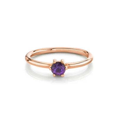 Amethyst Solitaire Stacking Ring - February - Marrow Fine