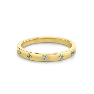 Aquamarine Star Set Stacking Ring - March - Marrow Fine