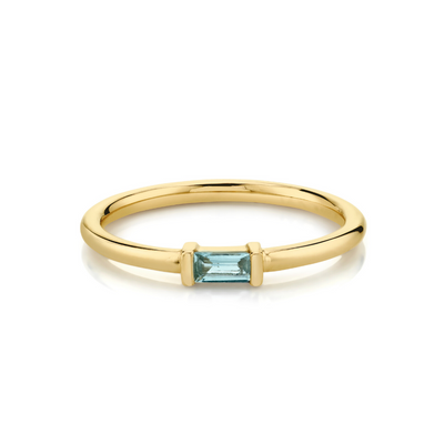 Aquamarine Straight Baguette Stacking Ring - March - Marrow Fine