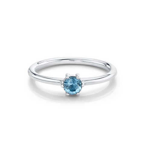 Aquamarine Solitaire Stacking Ring - March - Marrow Fine