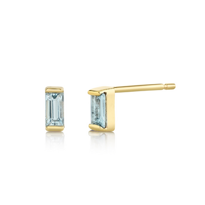 Aquamarine Baguette Stud Earrings - March - Marrow Fine