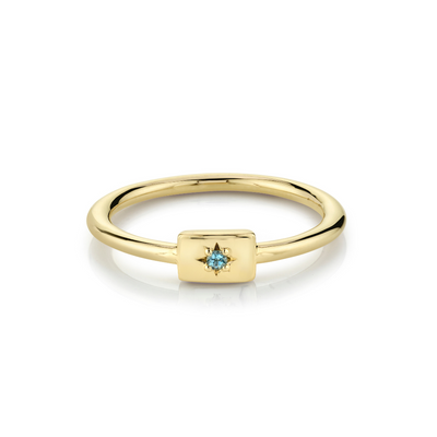 Aquamarine Plate Stacking Ring - March - Marrow Fine