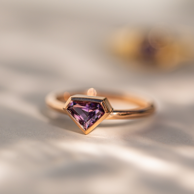 Amethyst Shield Bezel Ring