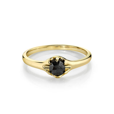 Black Diamond Buttercup Ring