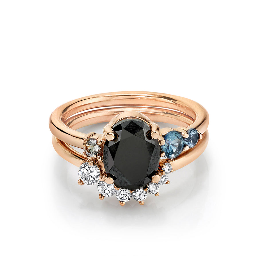 Black Diamond Oval Engagement Ring & Brilliant Nova Band - Marrow Fine