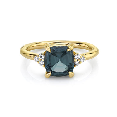 Grey Spinel Cushion Ring