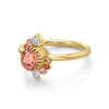Peach Sapphire Double Spray Ring