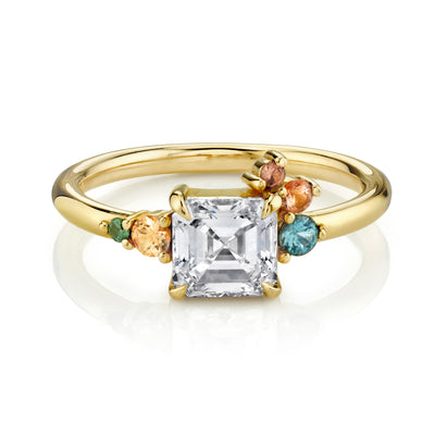Asscher Cut White Diamond Spray Ring - Marrow Fine