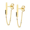 Black Diamond Dainty Chain Drop Earrings