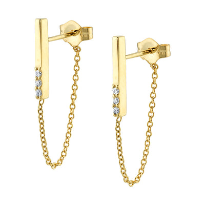 White Diamond Dainty Chain Drop Earrings - Marrow Fine