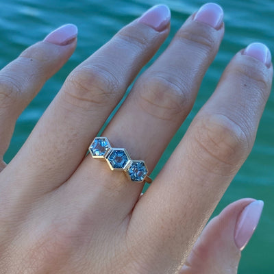 Mini Aquamarine Hex Stacking Ring
