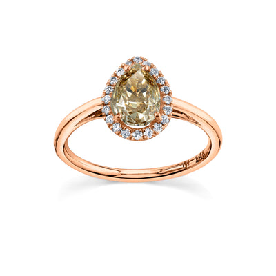 Champagne Pear Perfect Halo Ring - Marrow Fine
