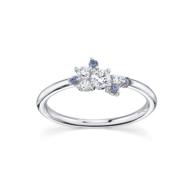Blue Sapphire & White Diamond Charlotte Mini Cluster Ring