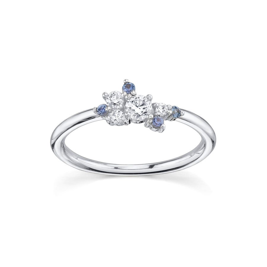 Blue Sapphire & White Diamond Charlotte Mini Cluster Ring - Marrow Fine