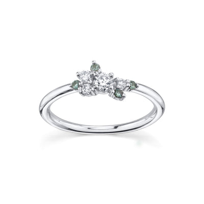 White Diamond & Green Sapphire Charlotte Mini Cluster Ring