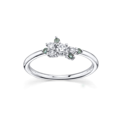 White Diamond & Green Sapphire Charlotte Mini Cluster Ring - Marrow Fine