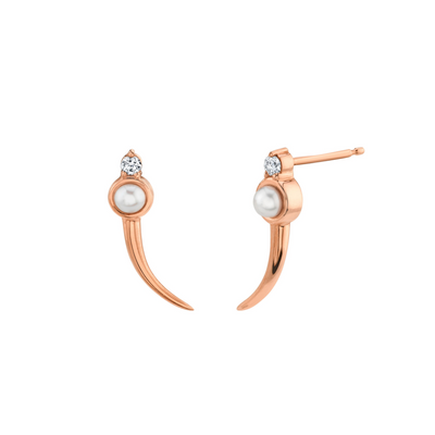 Curved Pearl Ear Climbers - Marrow Fine