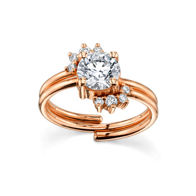 Double Spray Engagement Ring