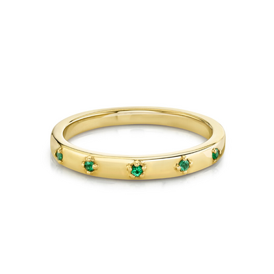 Emerald Star Set Stacking Ring - May - Marrow Fine