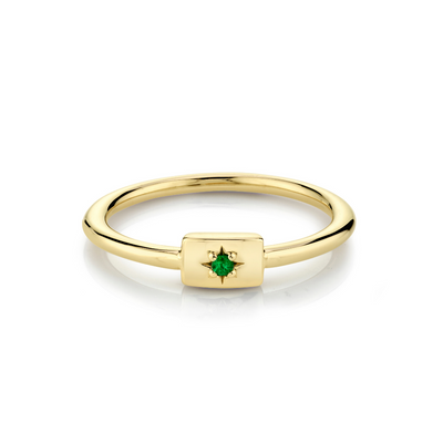 Emerald Plate Stacking Ring - May - Marrow Fine