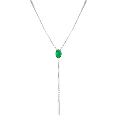 Emerald Oval Lariat Necklace - May