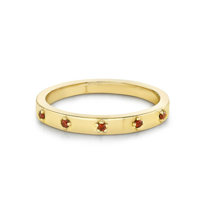 Garnet Star Set Stacking Ring - January - Marrow Fine