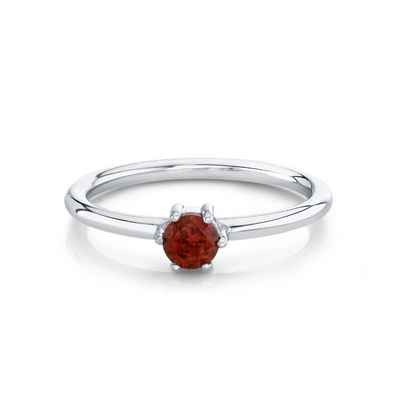 Garnet Solitaire Stacking Ring - January - Marrow Fine