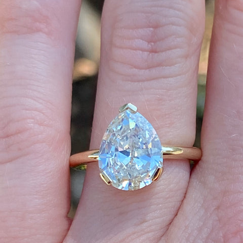 White Diamond Antique Pear Engagement Ring
