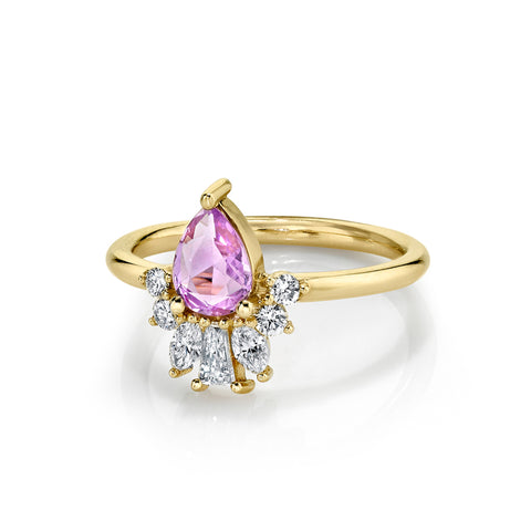 Lilac Pink Sapphire Pear Engagement Ring - Marrow Fine